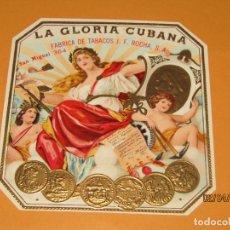Vitolas de colección: HABILITACIÓN PAPELETA TABACOS CUBA HABANA LA GLORIA CUBANA LITOGRAFIA CON ESTAMPADO Y ORO. Lote 158472590