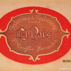 Vitolas de colección: LITOGRAFIA HABILITACIÓN BOCETÓN FÁBRICA DE TABACOS ISLAS CANARIAS EL PAIS LITOGRAFIADA. Lote 159339258