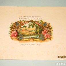 Vitolas de colección: ANTIGUA HABILITACIÓN LITOGRAFÍA DE TABACOS CUBA HABANA SAINT LUIS REY CON ESTAMPADOS EN ORO. Lote 160744906