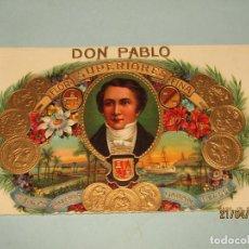 Vitolas de colección: ANTIGUA HABILITACIÓN LITOGRAFÍA DE TABACOS CUBA HABANA DON PABLO CON ESTAMPADOS EN ORO. Lote 160745082