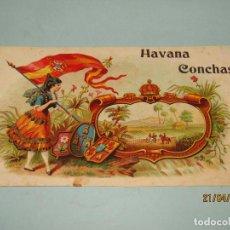 Vitolas de colección: ANTIGUA HABILITACIÓN LITOGRAFÍA DE TABACOS CUBA HABANOS HABANA CONCHAS CON ESTAMPADOS EN ORO. Lote 160747246