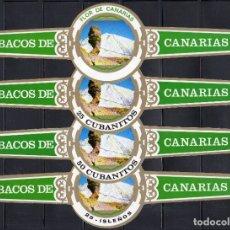 Vitolas de colección: FLOR DE CANARIAS, CUMBRES DEL TEIDE, 4 VITOLINAS GIGANTES, SERIE COMPLETA.. Lote 167685156