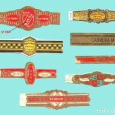 Vitolas de colección: 8 VITOLAS CANARIAS ANTIGUAS - MARCAS F. FRANQUET, CABRERA MARTIN, MANUEL HERRERA, CUATRO ESTRELLAS. Lote 170367372