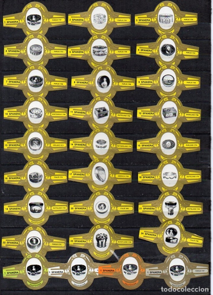 VITOLAS. SERIE COMPLETA SPANERA - TABAQUERAS, AMARILLO. 24 VITOLAS. (Coleccionismo - Objetos para Fumar - Vitolas)