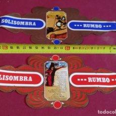 Vitolas de colección: 2 VITOLAS CIGARRO SOLISOMBRA DE RUMBO. Lote 177678063