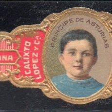 Vitolas de colección: VITOLA CLASICA: RES051, CASA REAL ESPAÑOLA, PRINCIPE DE ASTURIAS, CALIXTO LOPEZ, CUBA. Lote 180341852