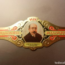 Vitolas de colección: VITOLA DE PURO ALVARO SERIE LITERATOS JOSÉ DE ECHEGARAY Y EIZAGUIRRE. . Lote 180501996