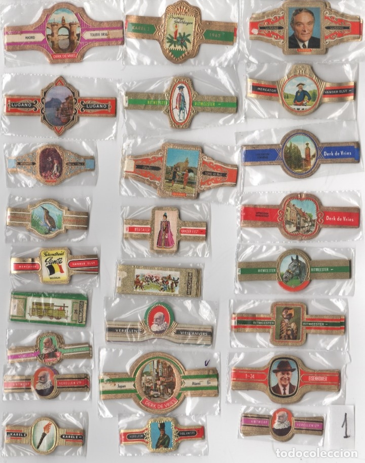 LOTE 1, 25 SERIES COMPLETAS Y DIFERENTES VITOLAS PROCEDENTES DE LOS PUROS DE HOLANDA, BELGICA Y ESPA (Coleccionismo - Objetos para Fumar - Vitolas)