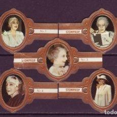 Vitolas de colección: STOMPKOP, REINA ISABEL DE BELGICA, SEPIA, 5 VITOLAS, SERIE COMPLETA.. Lote 184007978