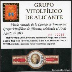 Vitolas de colección: LA REGENTA. VITOLA CLÁSICA CONMEMORAT. XXVI ANIV GRUPO VIT. DE ALICANTE. AÑO 2013.. Lote 189756010