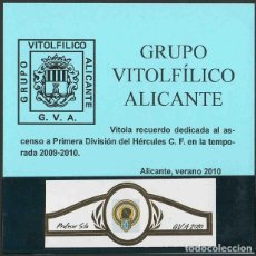 Vitolas de colección: PROF. SILA. VITOLA CLÁSICA CONMEMORAT. XXIII ANIV. GRUPO VIT. DE ALICANTE. AÑO 2010.. Lote 189756367