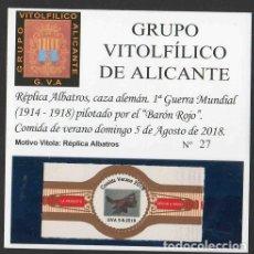 Vitolas de colección: LA REGENTA. VITOLA CLÁSICA CONMEMORAT. XXXI ANIV. GRUPO VIT. DE ALICANTE. AÑO 2018.. Lote 189756681
