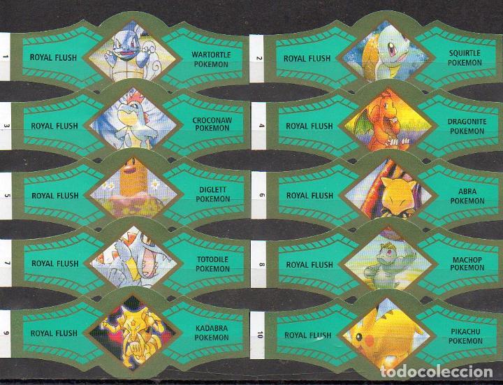 ROYAL FLUSH, POKEMON, VERDE/ORO, 10 VITOLAS, SERIE COMPLETA. (Coleccionismo - Objetos para Fumar - Vitolas)