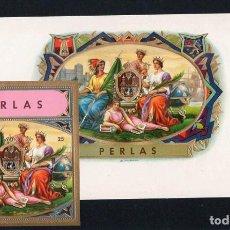 Vitolas de colección: VITOLAS, LITOGRAFÍAS. LOTE DE VISTA Y PAPELETA. PERLAS.. Lote 191639355