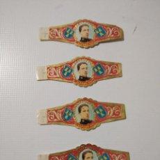 Vitolas de colección: LOTE DE 4 ANTIGUAS VITOLAS CLÁSICAS DEL REY ALFONSO XIII. Lote 194253256