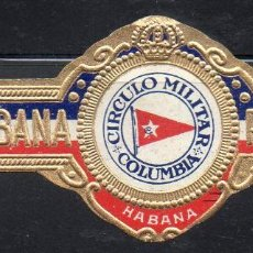 Vitolas de colección: VITOLA CLASICA: 1AA010, TEMA BANDERAS, CIRCULO MILITAR COLUMBIA, PARTAGAS, CUBA. Lote 194282352