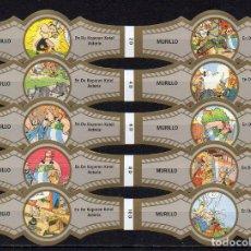 Vitolas de colección: MURILLO, ASTERIX, SERIE D, GRIS/ORO, 10 VITOLAS, SERIE COMPLETA.. Lote 194722301