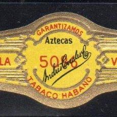 Vitolas de colección: VITOLA CLASICA: 153016, AZTECAS 50 %, LA PERLA, ANDRES CORRALES, MEXICO. Lote 195004053