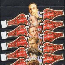 Vitolas de colección: LA REFORMA, REYES EN SILUETA, GLORIAS, GRAN FORMATO, 6 VITOLINAS SEMIGIGANTES, SERIE COMPLETA.. Lote 195191843