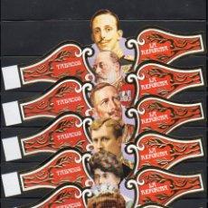 Vitolas de colección: LA REFORMA, REYES EN SILUETA, TABACOS, GRAN FORMATO, 6 VITOLINAS SEMIGIGANTES, SERIE COMPLETA.. Lote 195191872