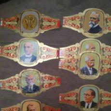 Vitolas de colección: 9 VITOLAS ALVARADO DE LA SERIE PREMIOS NOBEL DE LA PAZ. Lote 195335355