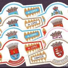 Vitolas de colección: LOPEZ M. ESCUDOS DE CANARIAS, 8 VITOLINAS, SERIE COMPLETA.. Lote 195389677