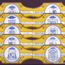 Vitolas de colección: ROYAL FLUSH, ESCUDOS PONTIFICIOS, AMARILLO/ORO, 10 VITOLAS, SERIE COMPLETA.. Lote 195411305