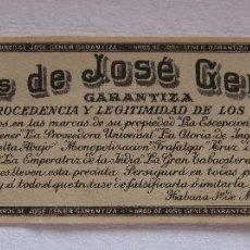 Vitolas de colección: PRECINTO SELLO DE GARANTIA TABACO. HEREDEROS DE JOSÉ FERRER. HABANA, 1909. 5 X 16 CM. Lote 200119776