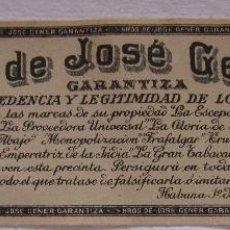 Vitolas de colección: PRECINTO SELLO DE GARANTIA TABACO. HEREDEROS DE JOSÉ FERRER. HABANA, 1909. 5 X 16 CM. Lote 200119867