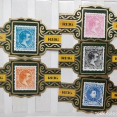 Vitolas de colección: 5 VITOLAS REIG SERIE CLÁSICOS ESPAÑOLES SELLOS. Lote 203040605