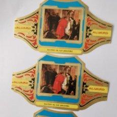 Vitolas de colección: 3 VITOLAS ALVARO SERIE CUADROS PINTORES ESPAÑOLES IGUALES. Lote 203040998