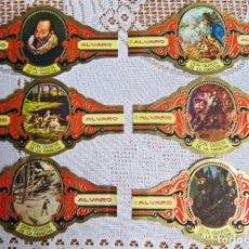 Vitolas de colección: 6 VITOLAS DON QUIJOTE DE LA MANCHA - ALVARO. Lote 203505897