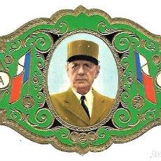 Vitolas de colección: VITOLA MORRITA PRESIDENTE DE GAULLE DE UNIFORME COLOR VERDE VITOLINA GRAN FORMATO. Lote 205595485