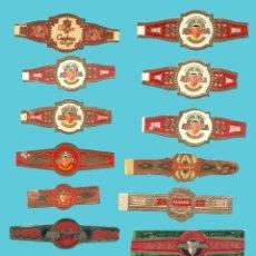 Anéis de charuto de coleção: 17 VITOLAS CANARIAS ANTIGUAS - MARCA ALVARO. TODAS DISTINTAS. Lote 210109495