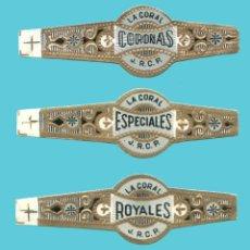 Anéis de charuto de coleção: 3 VITOLAS CANARIAS ANTIGUAS - MARCA LA CORAL. Lote 210109916