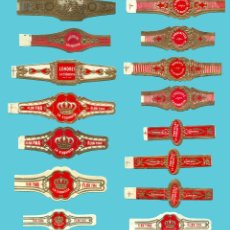 Anéis de charuto de coleção: 15 VITOLAS CANARIAS ANTIGUAS - MARCA LA EXQUISITA. Lote 210205562