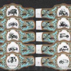 Vitolas de colección: TABACOS LA REFORMA. SERIE DE VITOLAS COMPLETA (10 UNID). AUTOMÓVILES ANTIGUOS.. Lote 218708941