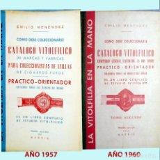 Vitolas de colección: PAREJA DE CATALOGOS VITOFILICOS EMILIO MENENDEZ AÑOS 1957 Y 1960. BIEN CONSERVADOS. MUY RAROS.. Lote 228945213