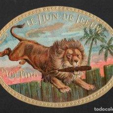 Vitolas de colección: VITOLA, ORIGINAL LITOGRAFÍA. LE LION DE LEEUW. TEMÁTICA: ANIMALES.. Lote 233703815