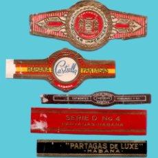 Bagues de cigare de collection: 5 VITOLAS CUBANAS ANTIGUAS - MARCA PARTAGAS. Lote 235087805
