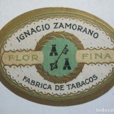 Vitolas de colección: FABRICA DE TABACOS IGNACIO ZAMORANO-FLOR FINA-ETIQUETA DE TABACO ANTIGUA-VER FOTOS-(77.062). Lote 237390430