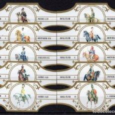 Vitolas de colección: ROYAL FLUSH, CABALLERIA, SERIE 1ª, BLANCO/ORO, 10 VITOLAS, SERIE COMPLETA.. Lote 244742330