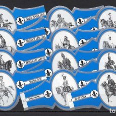 Vitolas de colección: ROYAL FLUSH, CABALLERIA, SERIE 2ª, AZUL/PLATA, 12 VITOLAS, SERIE COMPLETA.. Lote 244742370