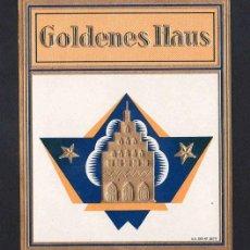 Vitolas de colección: VITOLA, ORIGINAL LITOGRAFÍA. GOLDENES HAUS. TEMÁTICA: EDIFICIOS.. Lote 255939325