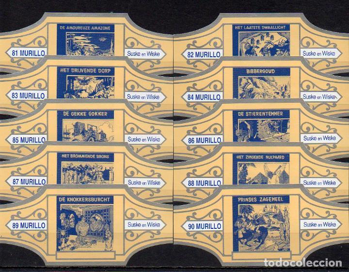 MURILLO, SUSKE Y WISKE, SERIE 9, CREMA/PLATA, 10 VITOLAS, SERIE COMPLETA. (Coleccionismo - Objetos para Fumar - Vitolas)