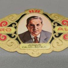 Vitolas de colección: VITOLA - ALVARO - SERIE LITERATOS - JOAQUIN CALVO SOTELO. Lote 263555170