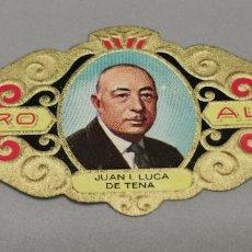 Vitolas de colección: VITOLA - ALVARO - SERIE LITERATOS -JUAN LUCA DE TENA. Lote 263555860