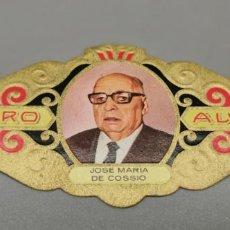 Vitolas de colección: VITOLA - ALVARO - SERIE LITERATOS -JOSE MARIA COSSIO. Lote 263556320