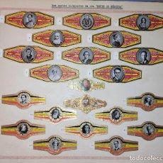 Vitolas de colección: 21 VITOLAS ANTIGUAS DOS SERIES DIFERENTES DE LOS REYES DE BELGICA ORIGINALES. Lote 269443618