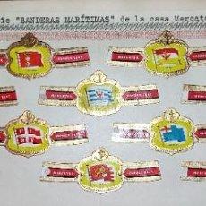Vitolas de colección: 13 VITOLAS ANTIGUAS MERCATOR SERIE BANDERAS MARITIMAS ORIGINALES. Lote 269446573